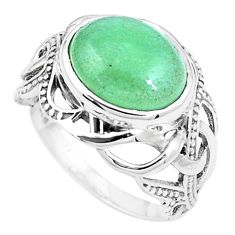 925 sterling silver 5.75cts green jade solitaire ring jewelry size 8.5 p12244