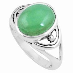 5.27cts green jade 925 sterling silver solitaire ring jewelry size 8 p12276