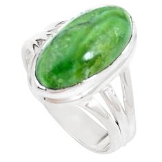 7.40cts natural green swiss imperial opal silver solitaire ring size 8 p12311