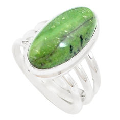 Natural green swiss imperial opal 925 silver solitaire ring size 6.5 p12316