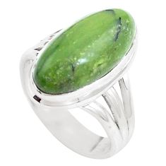 Natural green swiss imperial opal 925 silver solitaire ring size 7 p12318
