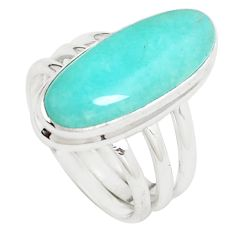 8.12cts natural green peruvian amazonite 925 silver solitaire ring size 7 p12390