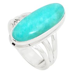 925 silver 7.40cts natural green peruvian amazonite solitaire ring size 7 p12391