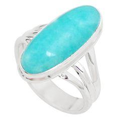 Natural green peruvian amazonite 925 silver solitaire ring size 7.5 p12394