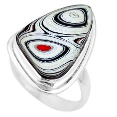 9.98cts brown florida auger shell 925 silver solitaire ring size 6.5 p12650