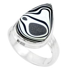 925 silver 8.77cts brown florida auger shell pear solitaire ring size 7.5 p12660