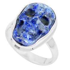 11.57cts natural blue lapis lazuli 925 sterling silver skull ring size 8 p12690