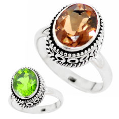 5.31cts green alexandrite (lab) 925 silver solitaire ring size 8.5 p12842
