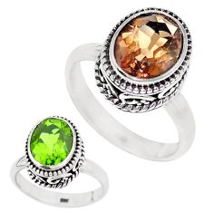 5.31cts green alexandrite (lab) 925 silver solitaire ring size 7.5 p12853