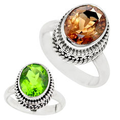 5.32cts green alexandrite (lab) 925 silver solitaire ring jewelry size 8 p12859