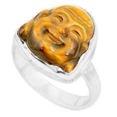 Natural brown tiger's eye 925 silver buddha charm solitaire ring size 6.5 p12904
