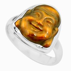 Natural brown tiger's eye 925 silver buddha charm solitaire ring size 7.5 p12913