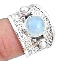 925 sterling silver 5.31cts natural rainbow moonstone pearl ring size 7 p13089
