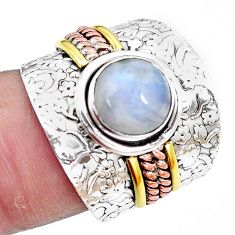 Victorian natural moonstone 925 silver two tone solitaire ring size 7 p13153