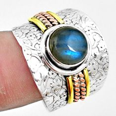 Victorian natural labradorite 925 silver two tone solitaire ring size 8.5 p13155