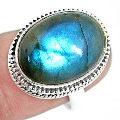 11.21cts natural blue labradorite 925 silver solitaire ring size 7.5 p13830