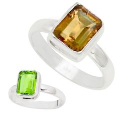 3.48cts green alexandrite (lab) 925 silver solitaire ring size 8.5 p14076