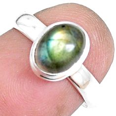 1.96cts natural blue labradorite 925 silver solitaire ring jewelry size 6 p14121