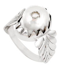 925 sterling silver 6.04cts natural white pearl solitaire ring size 8.5 p14251