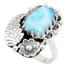 6.72cts natural blue larimar 925 silver solitaire ring jewelry size 9 p14266