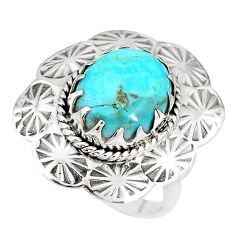925 silver 5.00cts green arizona mohave turquoise solitaire ring size 7 p14289