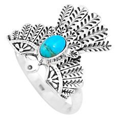 Green arizona mohave turquoise 925 silver solitaire eagle ring size 7 p14343
