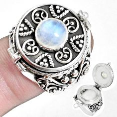 Natural rainbow moonstone 925 silver poison box solitaire ring size 8.5 p14955