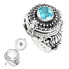 2.75cts natural blue topaz 925 silver poison box solitaire ring size 6.5 p14982
