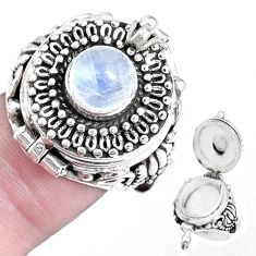 Natural rainbow moonstone 925 silver poison box solitaire ring size 7 p14999