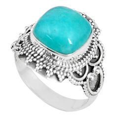 5.38cts natural green peruvian amazonite 925 silver solitaire ring size 7 p15090