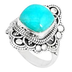 6.48cts natural green peruvian amazonite 925 silver solitaire ring size 7 p15100