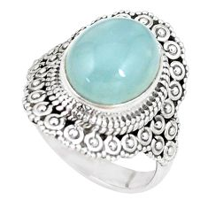 5.12cts natural blue aquamarine 925 silver solitaire ring jewelry size 7 p15111