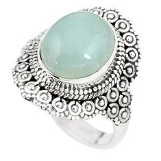 5.07cts natural blue aquamarine 925 silver solitaire ring jewelry size 8 p15112