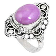 5.32cts natural purple phosphosiderite 925 silver solitaire ring size 8 p15127