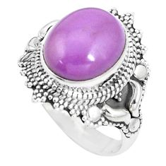 5.31cts natural purple phosphosiderite 925 silver solitaire ring size 8 p15132