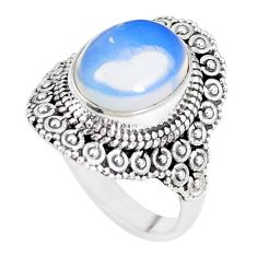 5.12cts natural white opalite 925 silver solitaire ring jewelry size 8 p15145