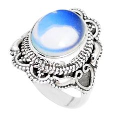 925 sterling silver 5.07cts natural white opalite solitaire ring size 6 p15149