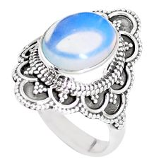 5.12cts natural white opalite 925 sterling silver solitaire ring size 8 p15150