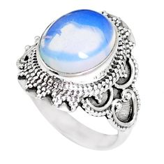 5.07cts natural white opalite 925 silver solitaire ring jewelry size 7 p15160