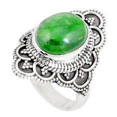 5.12cts natural green chrome diopside 925 silver solitaire ring size 7.5 p15161