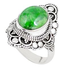 5.12cts natural green chrome diopside 925 silver solitaire ring size 7 p15163