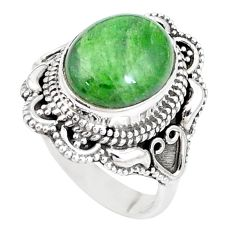 5.12cts natural green chrome diopside 925 silver solitaire ring size 7 p15165