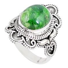 5.30cts natural green chrome diopside 925 silver solitaire ring size 8 p15166