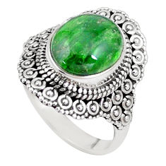 5.30cts natural green chrome diopside 925 silver solitaire ring size 8 p15170