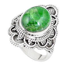 5.30cts natural green chrome diopside 925 silver solitaire ring size 7 p15171