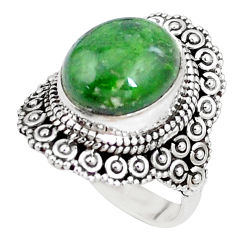 5.12cts natural green chrome diopside 925 silver solitaire ring size 6 p15172