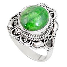 5.71cts natural green chrome diopside 925 silver solitaire ring size 8 p15173