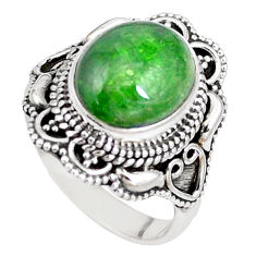 925 silver 5.12cts natural green chrome diopside solitaire ring size 7.5 p15174