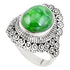 5.12cts natural green chrome diopside 925 silver solitaire ring size 7 p15175