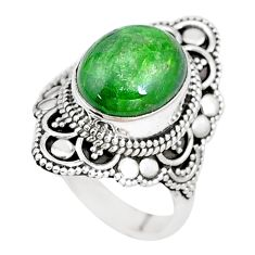 5.12cts natural green chrome diopside 925 silver solitaire ring size 7 p15176